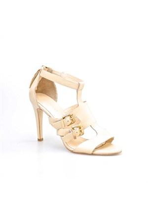 Cabani Topuklu Günlük Kadın Ayakkabı Bej Deri