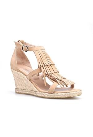 Cabani Püsküllü Kadın Sandalet Vizon Nubuk