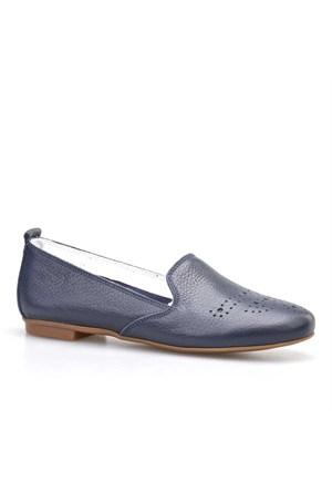 Cabani Zımbalı Kadın Ayakkabı Lacivert Deri
