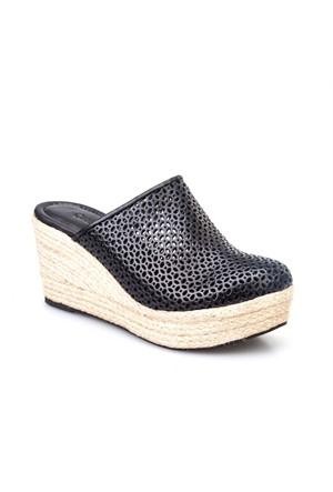 Cabani Desenli Kadın Ayakkabı Siyah Deri