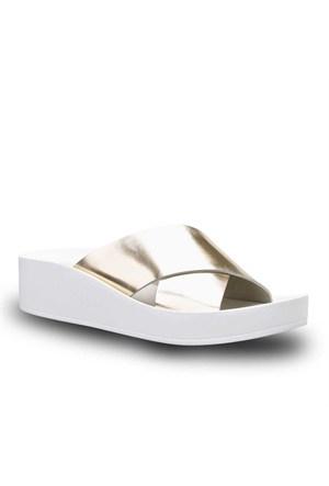Cabani Geniş Kemerli Kadın Sandalet Altın Rengi Deri