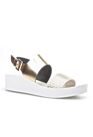 Cabani Bilekten Tokalı Kadın Sandalet Altın Rengi Deri