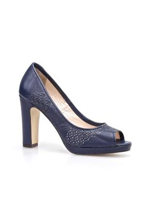 Cabani Baskılı Günlük Kadın Ayakkabı Lacivert Deri