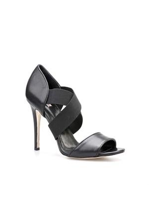 Cabani Lastikli Günlük Kadın Ayakkabı Siyah Deri