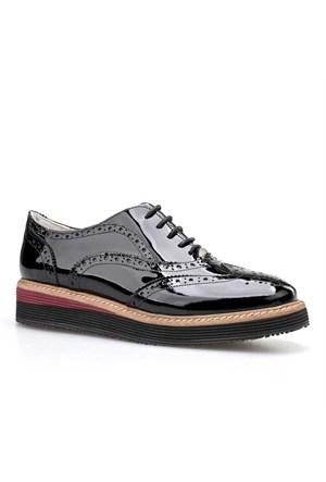 Cabani Oxford Kadın Ayakkabı Siyah Rugan