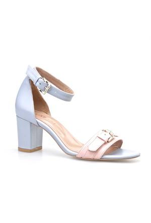 Cabani Topuklu Kadın Ayakkabı Mavi Deri