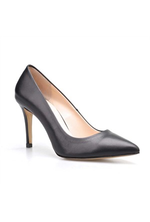 Cabani Topuklu Günlük Kadın Ayakkabı Siyah Deri