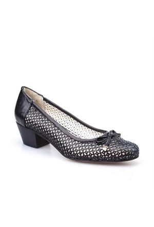 Cabani Fiyonklu Kadın Ayakkabı Siyah Deri