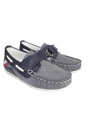 Sanbe Gri Deri Casual Ayakkabı (Hakiki Deri)