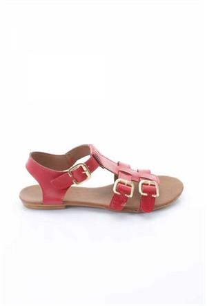 Shoes&Moda Kırmızı Cilt Kadın Sandalet 509-1016-1401T94
