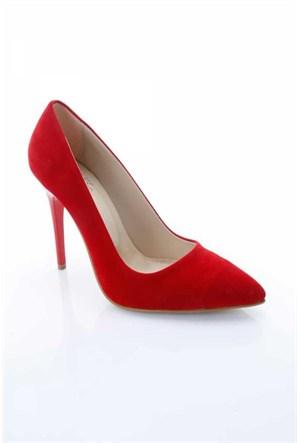 Shoes&Moda Kırmızı Süet Kadın Stiletto Ayakkabı 509-6-Nz015316