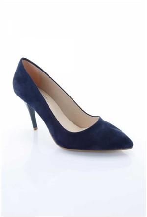 Shoes&Moda Lacivert Süet Kadın Stiletto Ayakkabı 509-6-Nz015074