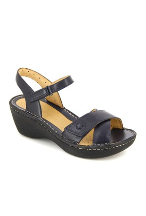 Clarks Lacivert Deri Sandalet 26114943