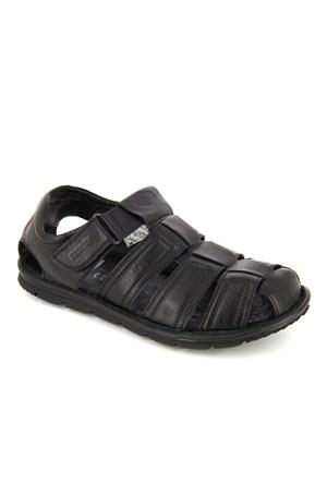 Scooter Siyah Deri Sandalet M1972ds