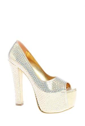 Derigo Kadın Topuklu Ayakkabı Dore