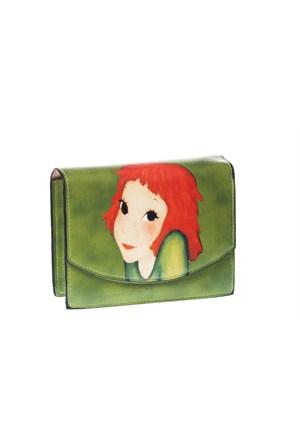 Eos Yeşil Deri Görünümlü Baskılı/Zincirli Mini Çanta