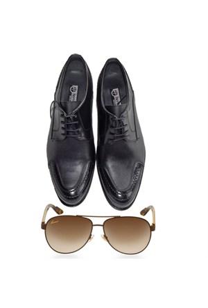 Siyah Klasik Erkek Ayakkabısı + Güneş Gözlüğü
