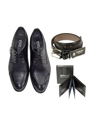 Siyah Klasik Erkek Ayakkabısı + Kemer + Cüzdan