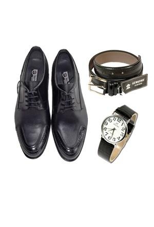 Siyah Klasik Erkek Ayakkabısı + Kemer + Saat