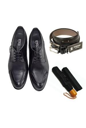 Siyah Klasik Erkek Ayakkabısı + Kemer + Şemsiye