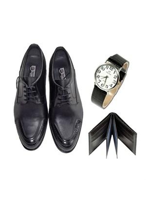 Siyah Klasik Erkek Ayakkabısı + Kol Saati + Cüzdan
