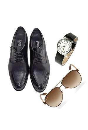 Siyah Klasik Erkek Ayakkabısı + Kol Saati + Güneş Gözlüğü