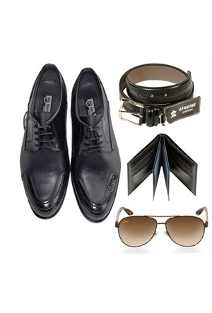 Siyah Klasik Erkek Ayakkabısı + Kemer + Cüzdan + Gözlük