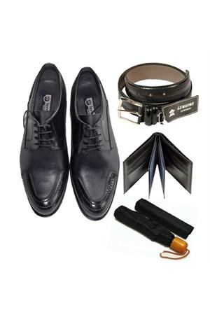 Siyah Klasik Erkek Ayakkabısı + Kemer + Cüzdan + Şemsiye