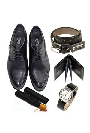 Siyah Klasik Erkek Ayakkabısı + Kemer + Cüzdan + Saat + Şemsiye