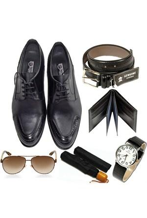 Siyah Klasik Erkek Ayakkabısı + Kemer + Cüzdan + Saat + Şemsiye+Gözlük
