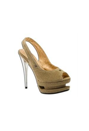 Escarpine Çift Platformlu Bej Topuklu Ayakkabı