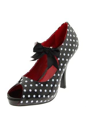 Pleaser Siyah Üzerine Beyaz Puntolu Ayakkabı