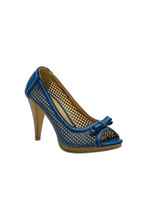 Escarpine Fileli Lacivert Bayan Ayakkabı