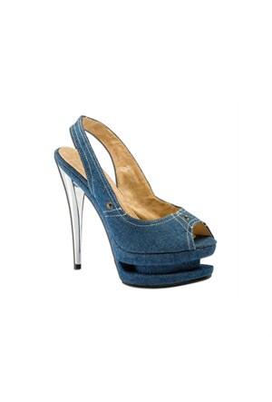 Escarpine Çift Platformlu Jean Topuklu Ayakkabı