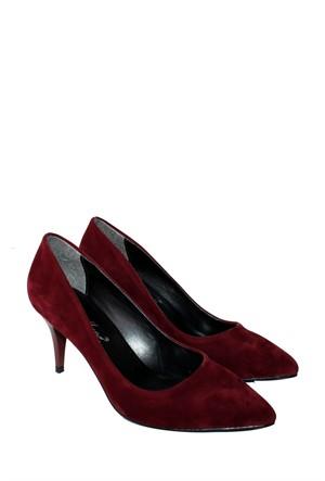 Mina Moor Ayakkabı Bordo Süet Klasik Kadın Ayakkabı - 11905