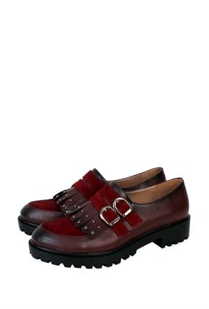 Format Shoes Bordo Çift Tokalı Zenne Ayakkabı - 2140