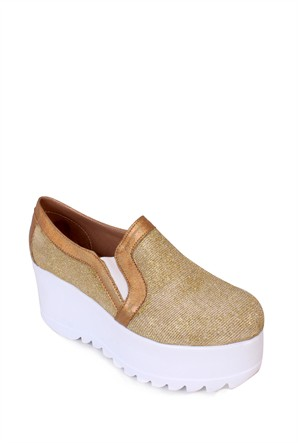 Format Shoes Altın Kalın Taban Simli Zenne Ayakkabı - 4005