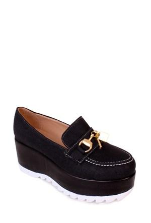 Format Shoes Siyah Kalın Taban Zenne Ayakkabı - 4015