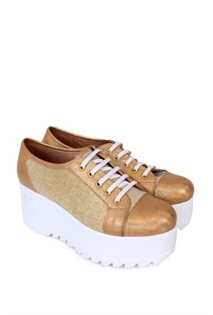 Format Shoes Altın Kalın Taban Zenne Ayakkabı - 4020