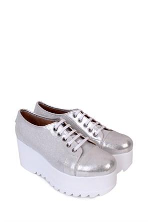 Format Shoes Gümüş Kalın Taban Zenne Ayakkabı - 4020