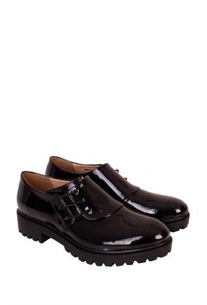 Format Shoes Siyah Rgn Yandan Bağcıklı Zenne Ayakkabı - 2035