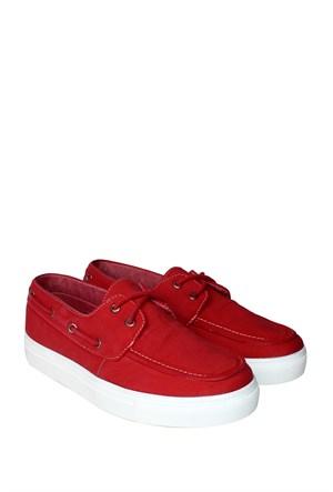 Dosteli Ayakkabı Kırmızı Spery Kadın Keten Ayakkabı - 140