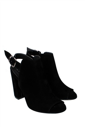 E - G Ayakkabı Siyah Süet Klasik Kadın Ayakkabı - 151