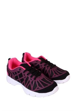 Kaya Dericilik Siyah - Fuşya Kadın Spor Ayakkabı - 455