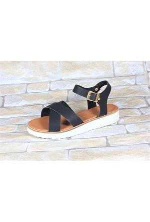 By Puix 254-1100 Siyah Kadın Sandalet
