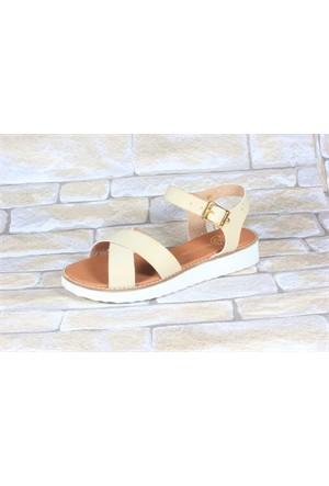 By Puix 254-1100 Krem Kadın Sandalet