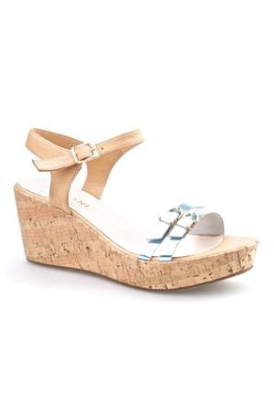Cabani Dolgu Topuk Kadın Sandalet Mavi Deri