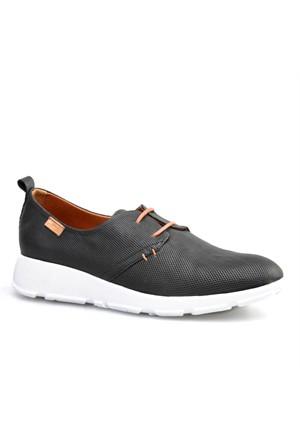 Cabani Lazerli Kadın Ayakkabı Siyah Deri