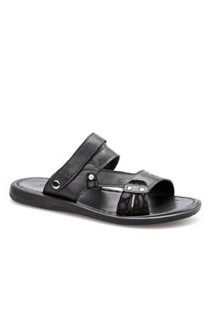 Cabani Tokalı Günlük Erkek Sandalet Siyah Deri