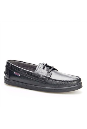 Cabani Marin Tekne Günlük Erkek Ayakkabı Siyah Kırma Deri